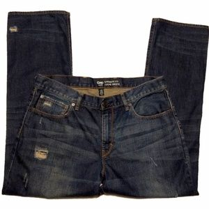 Gap Jeans Straight Fit Distressed Destroyed 36x30
